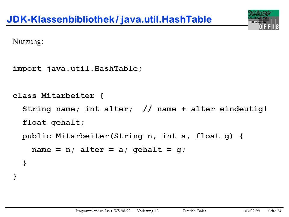 Programmierkurs Java WS 98/99 Vorlesung 13 Dietrich Boles 03/02/99Seite 24 JDK-Klassenbibliothek / java.util.HashTable Nutzung: import java.util.HashTable; class Mitarbeiter { String name; int alter; // name + alter eindeutig.