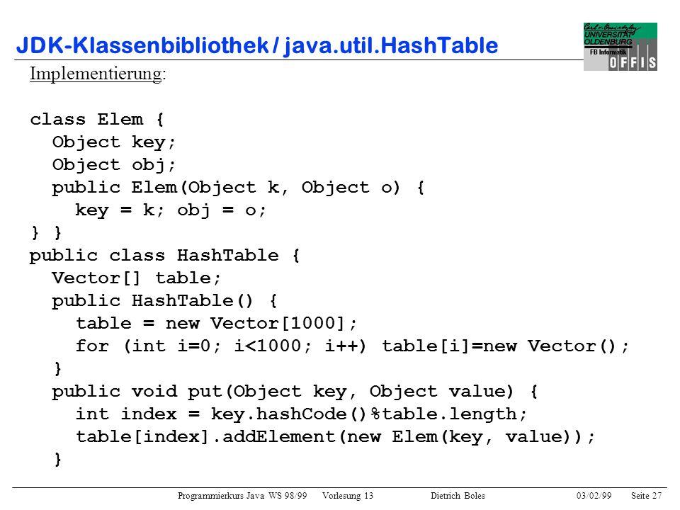 Programmierkurs Java WS 98/99 Vorlesung 13 Dietrich Boles 03/02/99Seite 27 JDK-Klassenbibliothek / java.util.HashTable Implementierung: class Elem { Object key; Object obj; public Elem(Object k, Object o) { key = k; obj = o; } public class HashTable { Vector[] table; public HashTable() { table = new Vector[1000]; for (int i=0; i<1000; i++) table[i]=new Vector(); } public void put(Object key, Object value) { int index = key.hashCode()%table.length; table[index].addElement(new Elem(key, value)); }