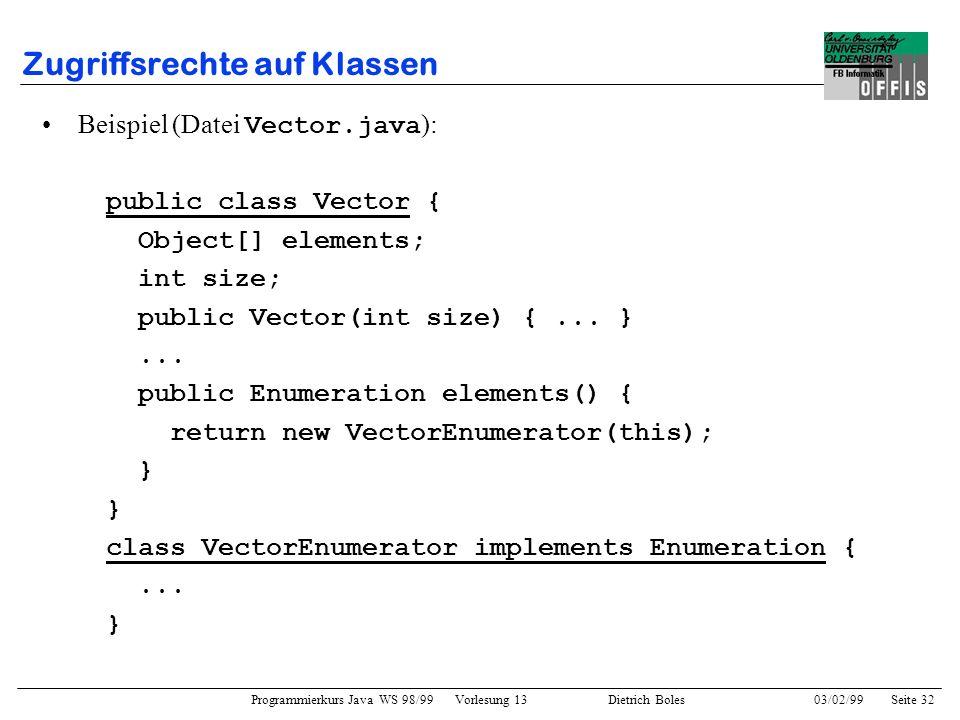 Programmierkurs Java WS 98/99 Vorlesung 13 Dietrich Boles 03/02/99Seite 32 Zugriffsrechte auf Klassen Beispiel (Datei Vector.java ): public class Vector { Object[] elements; int size; public Vector(int size) {...
