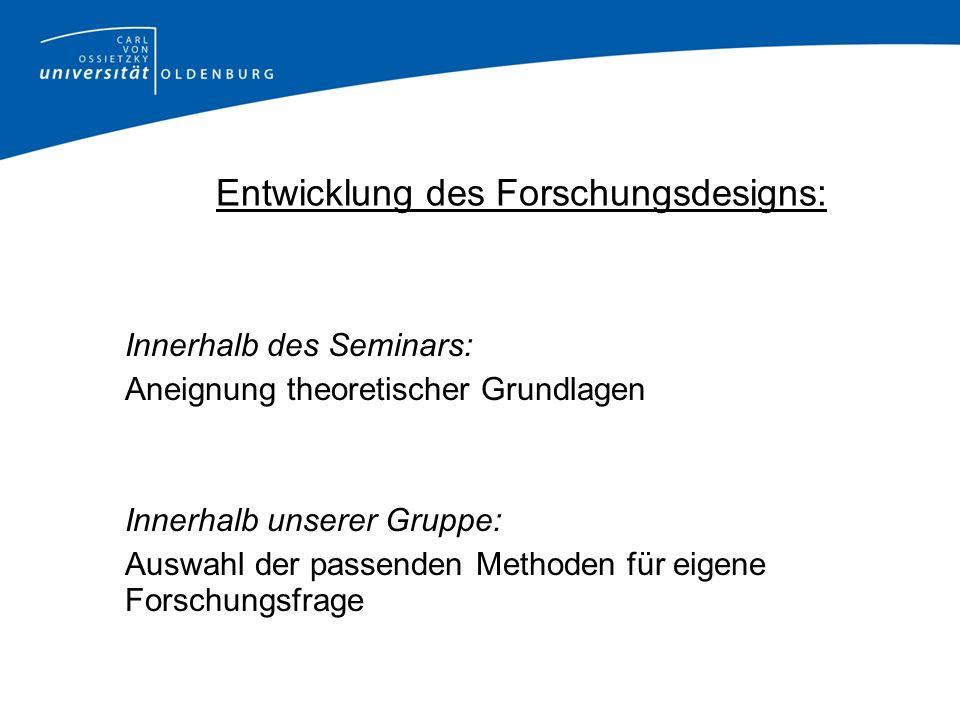 Entwicklung des Forschungsdesigns: Innerhalb des Seminars: Aneignung theoretischer Grundlagen Innerhalb unserer Gruppe: Auswahl der passenden Methoden