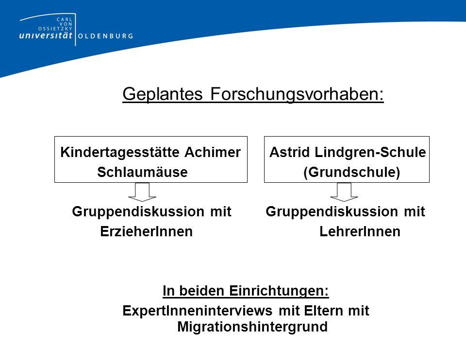Geplantes Forschungsvorhaben: Kindertagesstätte Achimer Astrid Lindgren-Schule Schlaumäuse (Grundschule) Gruppendiskussion mit Gruppendiskussion mit E