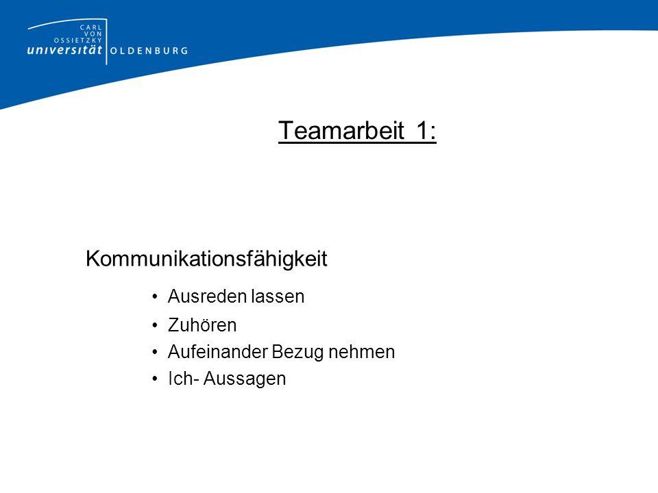 Teamarbeit 1: Kommunikationsfähigkeit Ausreden lassen Zuhören Aufeinander Bezug nehmen Ich- Aussagen