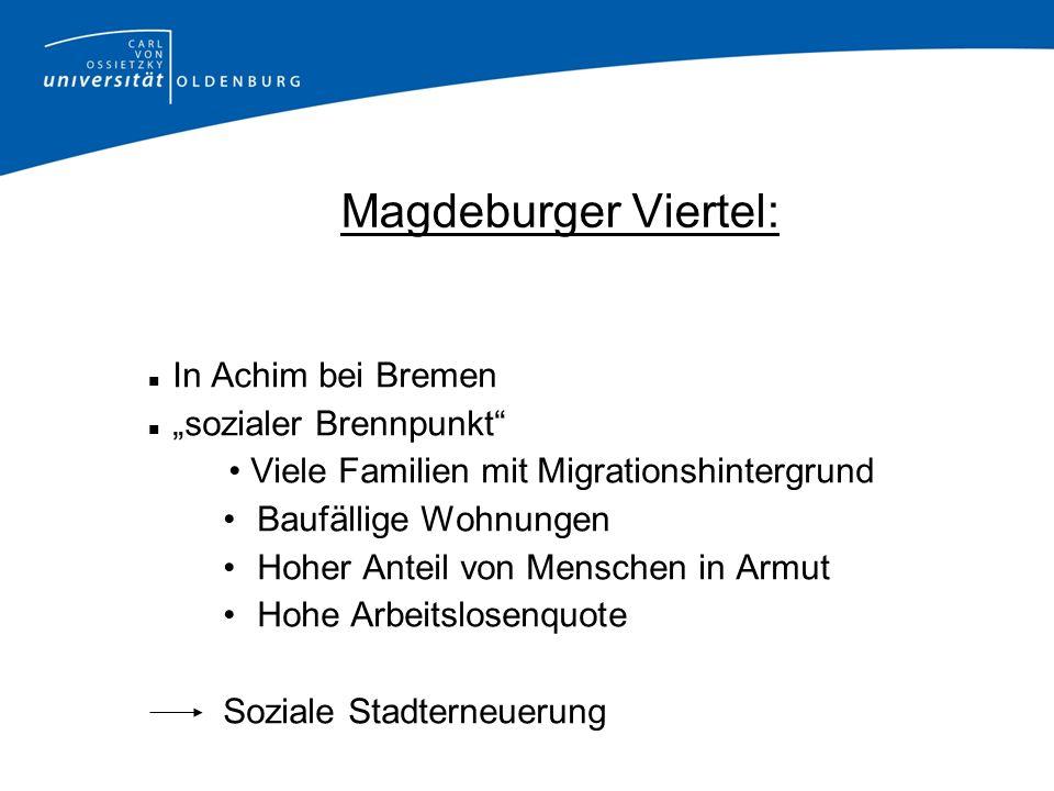 Magdeburger Viertel: In Achim bei Bremen sozialer Brennpunkt Viele Familien mit Migrationshintergrund Baufällige Wohnungen Hoher Anteil von Menschen i