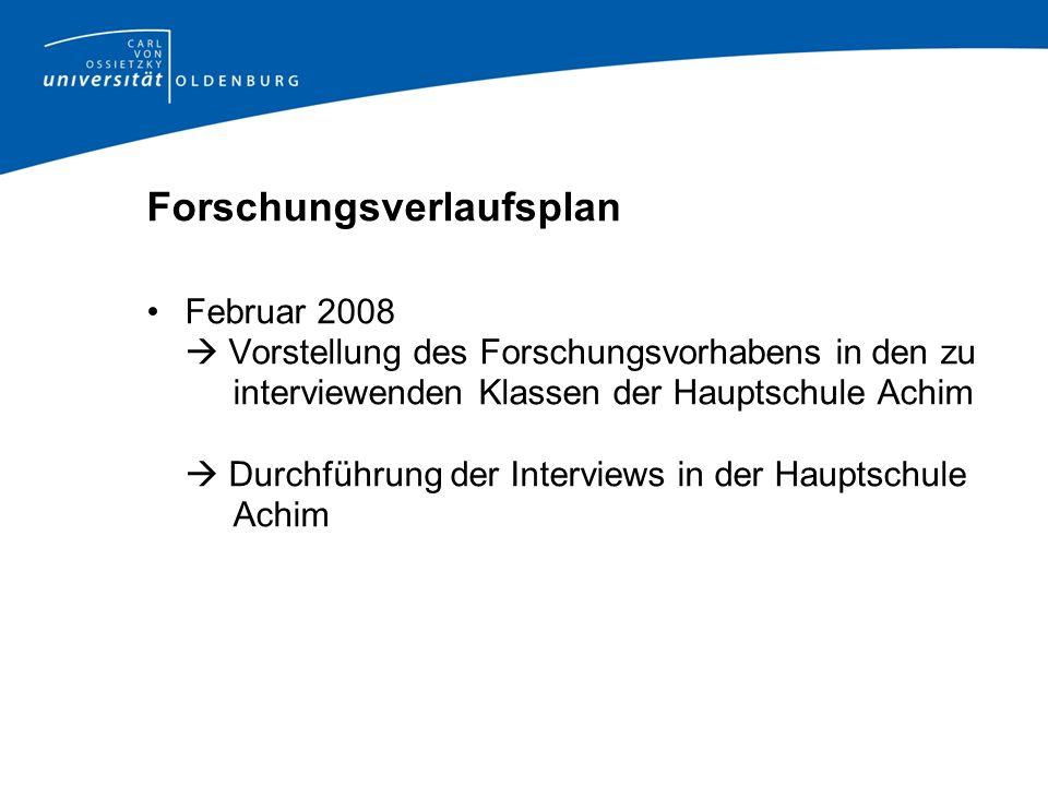 Forschungsverlaufsplan Februar 2008 Vorstellung des Forschungsvorhabens in den zu interviewenden Klassen der Hauptschule Achim Durchführung der Interv