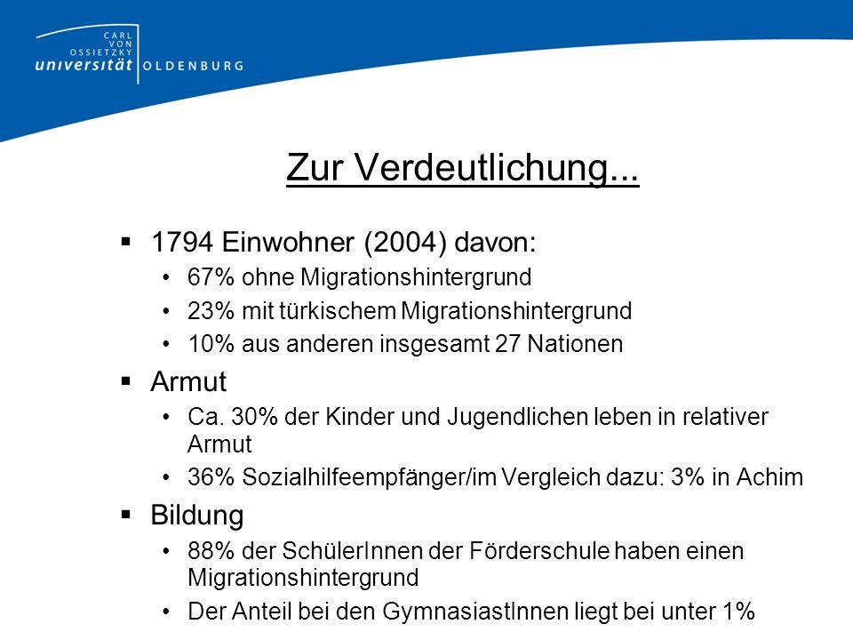 Zur Verdeutlichung... 1794 Einwohner (2004) davon: 67% ohne Migrationshintergrund 23% mit türkischem Migrationshintergrund 10% aus anderen insgesamt 2