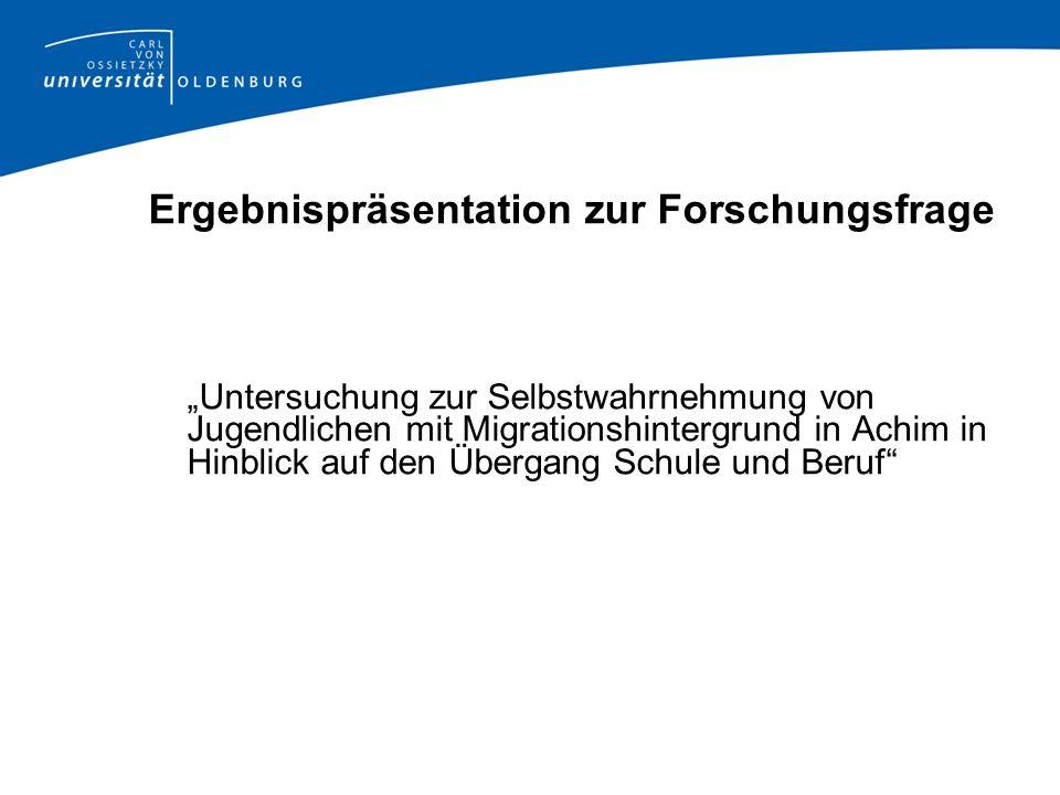 Ergebnispräsentation zur Forschungsfrage Untersuchung zur Selbstwahrnehmung von Jugendlichen mit Migrationshintergrund in Achim in Hinblick auf den Üb