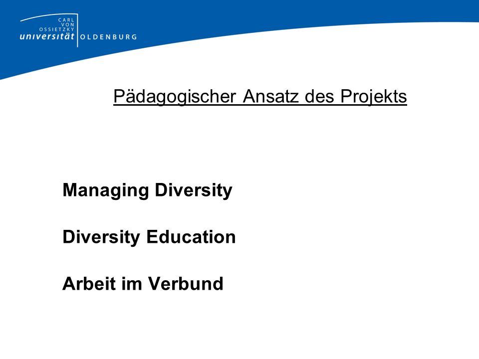 Pädagogischer Ansatz des Projekts Managing Diversity Diversity Education Arbeit im Verbund