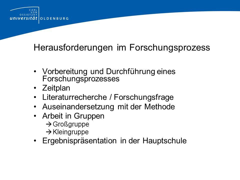 Herausforderungen im Forschungsprozess Vorbereitung und Durchführung eines Forschungsprozesses Zeitplan Literaturrecherche / Forschungsfrage Auseinand