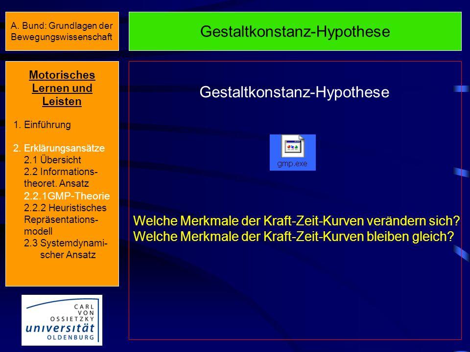GMP-Theorie Recall-Schema Ausgangsbedingungen Bewegungsparameter Bewegungsergebnisse Variable Bewegungsparameter Recognition- Schema Ausgangsbedingung