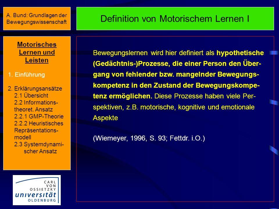 Heuristisches Repräsentationsmodell Motorisches Lernen und Leisten 1.