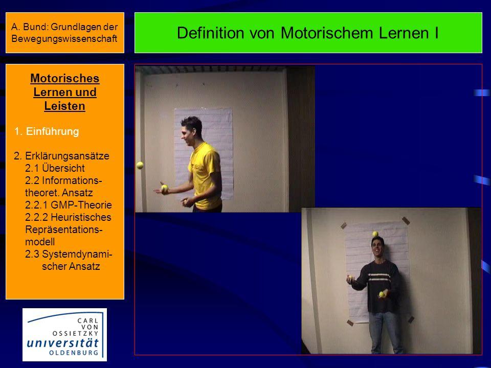 Motorisches Lernen und Leisten 1. Einführung 2. Erklärungsansätze 2.1 Übersicht 2.2 Informations- theoret. Ansatz 2.2.1 GMP-Theorie 2.2.2 Heuristische