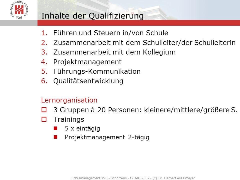 Inhalte der Qualifizierung 1.Führen und Steuern in/von Schule 2.Zusammenarbeit mit dem Schulleiter/der Schulleiterin 3.Zusammenarbeit mit dem Kollegiu