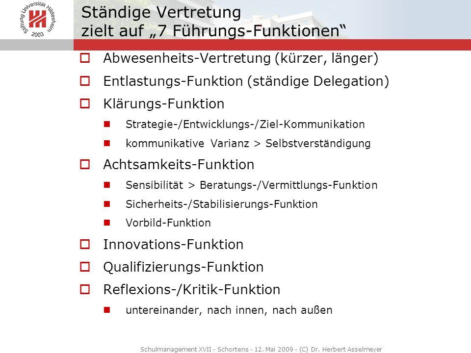 Ständige Vertretung zielt auf 7 Führungs-Funktionen Abwesenheits-Vertretung (kürzer, länger) Entlastungs-Funktion (ständige Delegation) Klärungs-Funkt