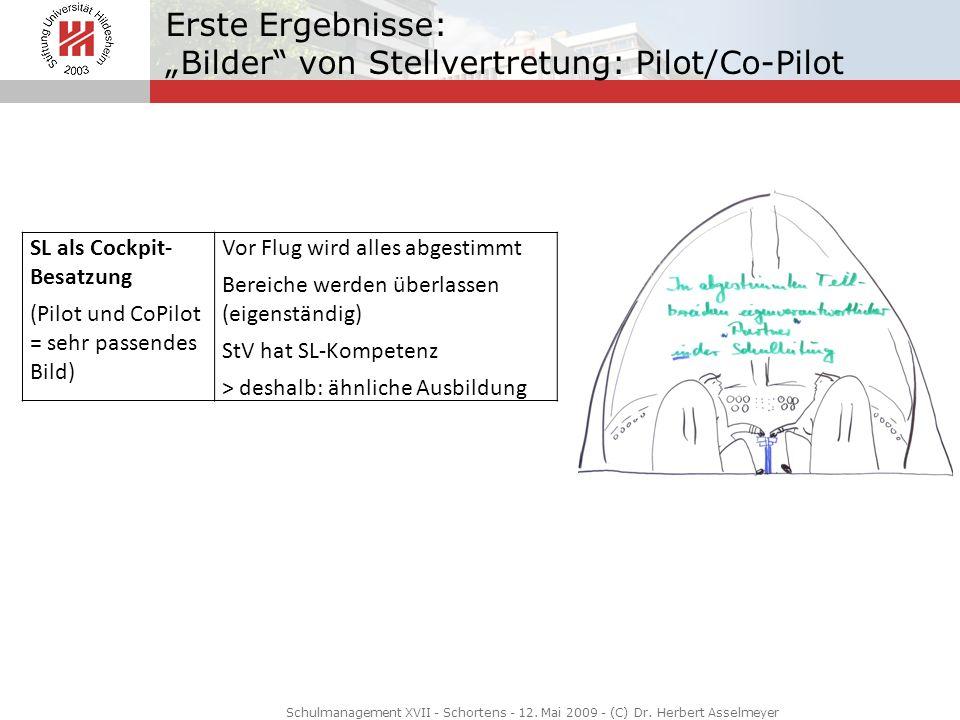 Erste Ergebnisse: Bilder von Stellvertretung: Pilot/Co-Pilot Schulmanagement XVII - Schortens - 12. Mai 2009 - (C) Dr. Herbert Asselmeyer SL als Cockp