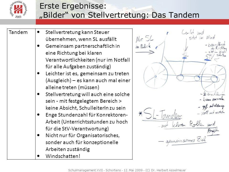 Erste Ergebnisse: Bilder von Stellvertretung: Das Tandem Schulmanagement XVII - Schortens - 12. Mai 2009 - (C) Dr. Herbert Asselmeyer Tandem Stellvert