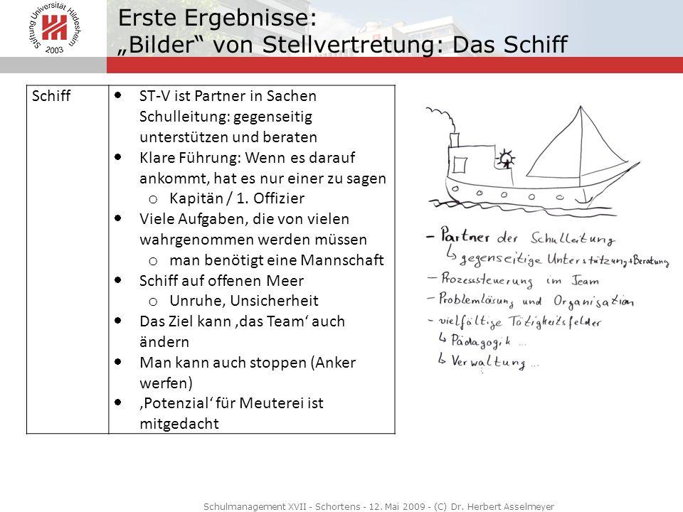 Erste Ergebnisse: Bilder von Stellvertretung: Das Schiff Schulmanagement XVII - Schortens - 12. Mai 2009 - (C) Dr. Herbert Asselmeyer Schiff ST-V ist