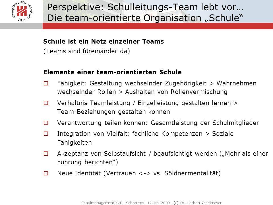 Perspektive: Schulleitungs-Team lebt vor… Die team-orientierte Organisation Schule Schule ist ein Netz einzelner Teams (Teams sind füreinander da) Ele