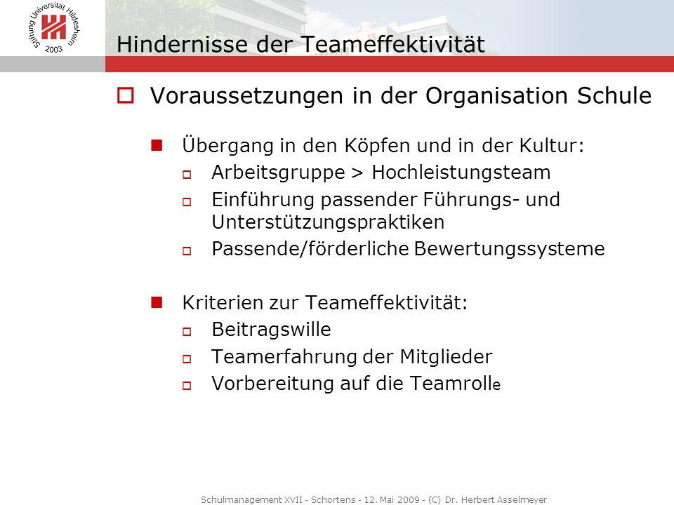 Hindernisse der Teameffektivität Voraussetzungen in der Organisation Schule Übergang in den Köpfen und in der Kultur: Arbeitsgruppe > Hochleistungstea