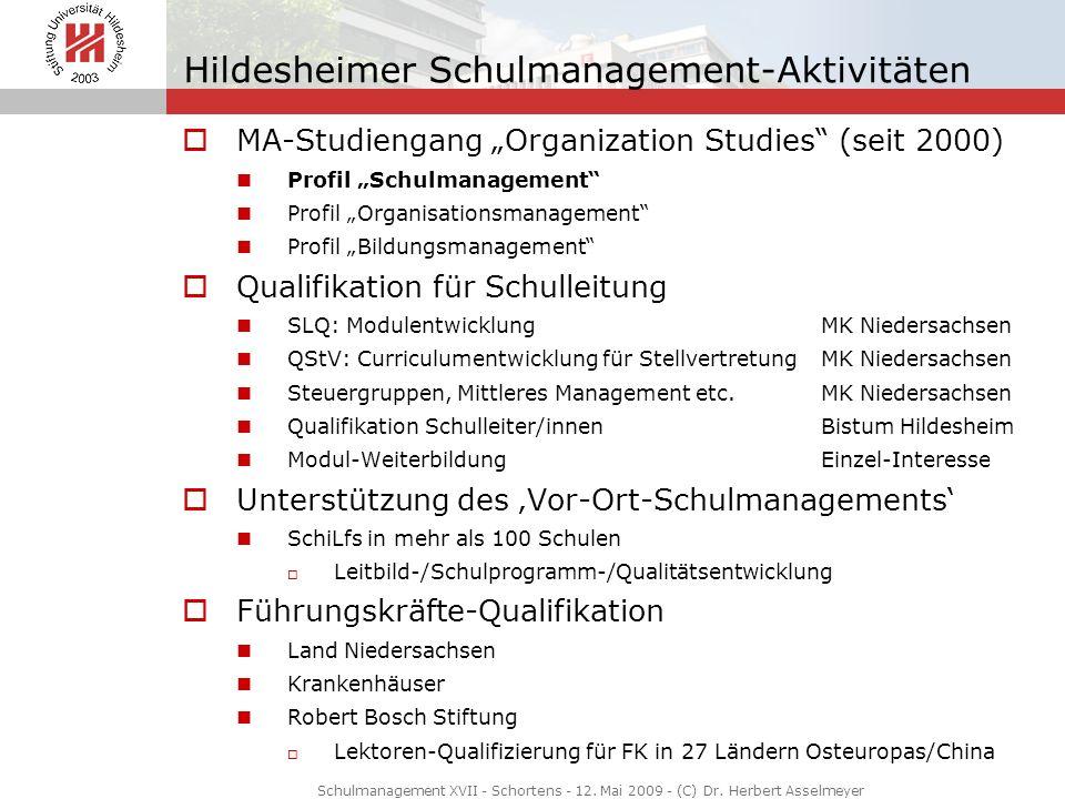 Hildesheimer Schulmanagement-Aktivitäten MA-Studiengang Organization Studies (seit 2000) Profil Schulmanagement Profil Organisationsmanagement Profil