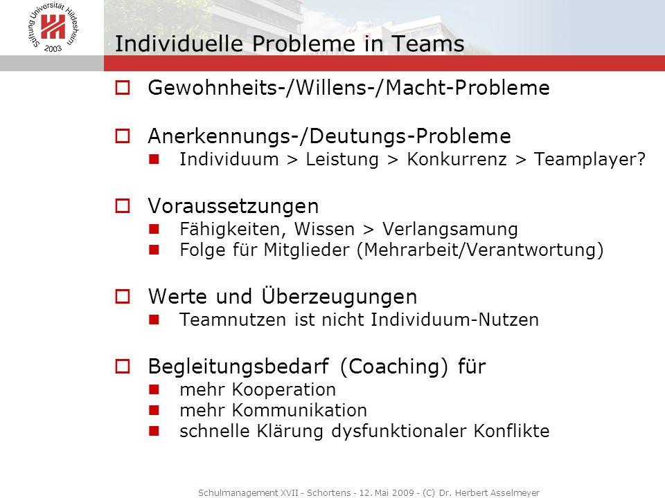 Individuelle Probleme in Teams Gewohnheits-/Willens-/Macht-Probleme Anerkennungs-/Deutungs-Probleme Individuum > Leistung > Konkurrenz > Teamplayer? V