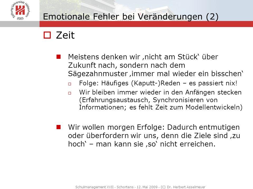 Emotionale Fehler bei Veränderungen (2) Zeit Meistens denken wir nicht am Stück über Zukunft nach, sondern nach dem Sägezahnmuster immer mal wieder ei