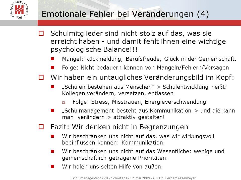 Emotionale Fehler bei Veränderungen (4) Schulmitglieder sind nicht stolz auf das, was sie erreicht haben - und damit fehlt ihnen eine wichtige psychol
