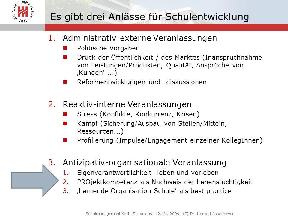 Es gibt drei Anlässe für Schulentwicklung 1.Administrativ-externe Veranlassungen Politische Vorgaben Druck der Öffentlichkeit / des Marktes (Inanspruc