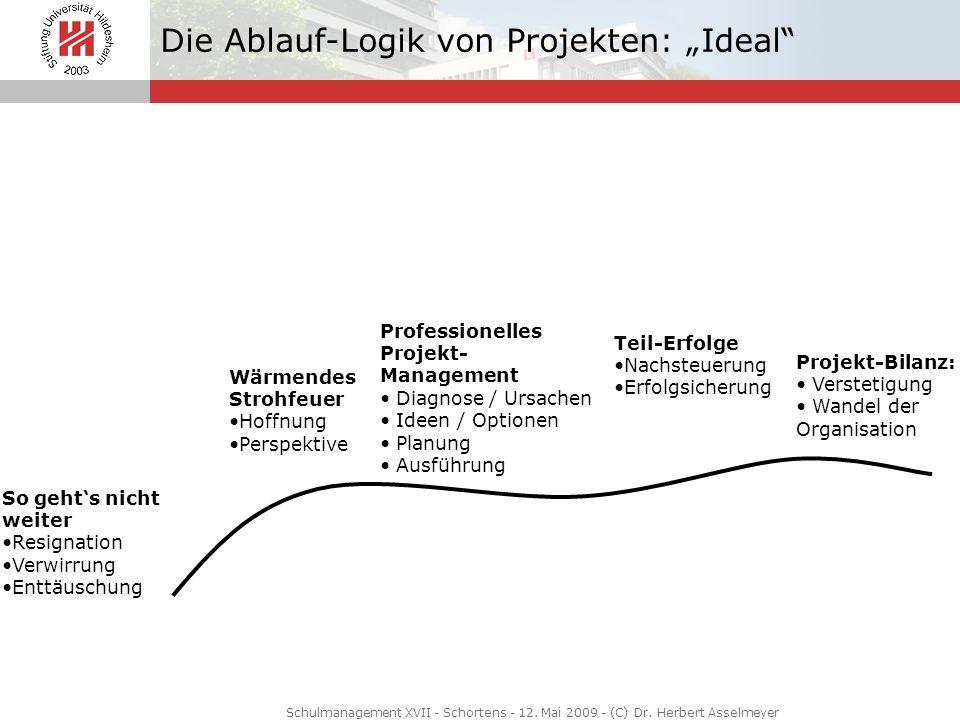 Die Ablauf-Logik von Projekten: Ideal So gehts nicht weiter Resignation Verwirrung Enttäuschung Wärmendes Strohfeuer Hoffnung Perspektive Professionel