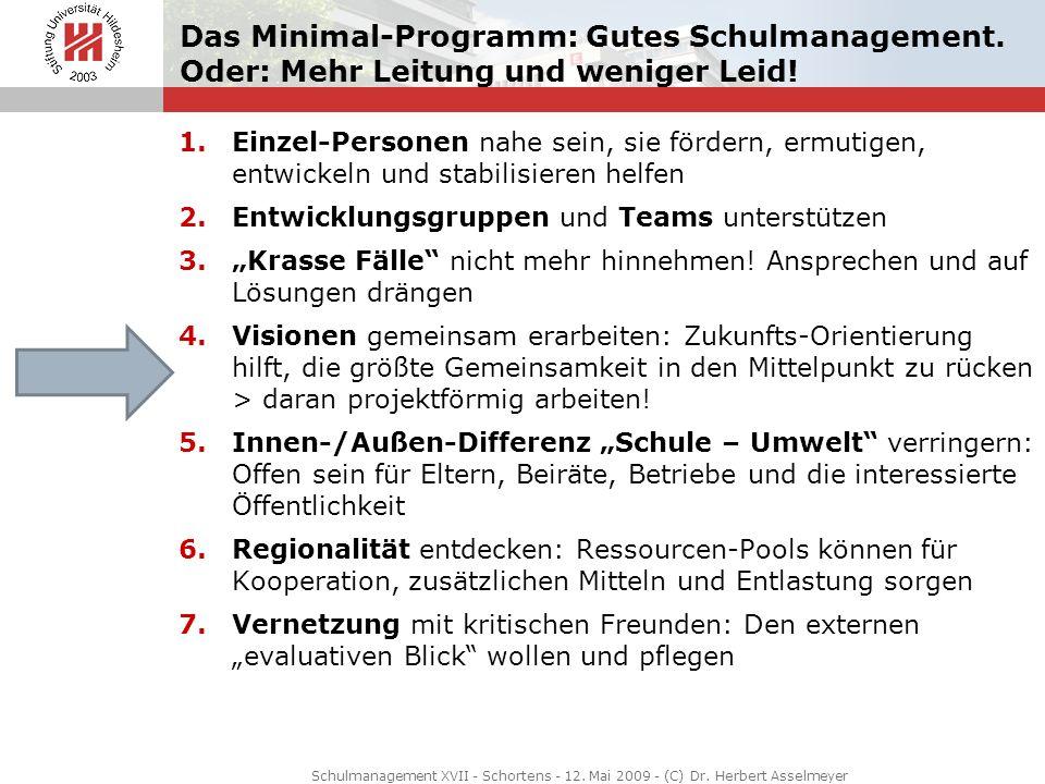 Schulmanagement XVII - Schortens - 12. Mai 2009 - (C) Dr. Herbert Asselmeyer Das Minimal-Programm: Gutes Schulmanagement. Oder: Mehr Leitung und wenig
