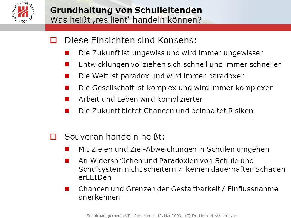 Schulmanagement XVII - Schortens - 12. Mai 2009 - (C) Dr. Herbert Asselmeyer Grundhaltung von Schulleitenden Was heißt resilient handeln können? Diese