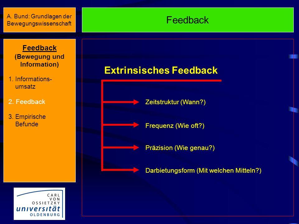 Feedback Sensorische Reize Feedforward Informationen, die vor der Bewegungsausführung verfügbar sind (Instruktionen) Feedback Bewegungsinduzierte Info