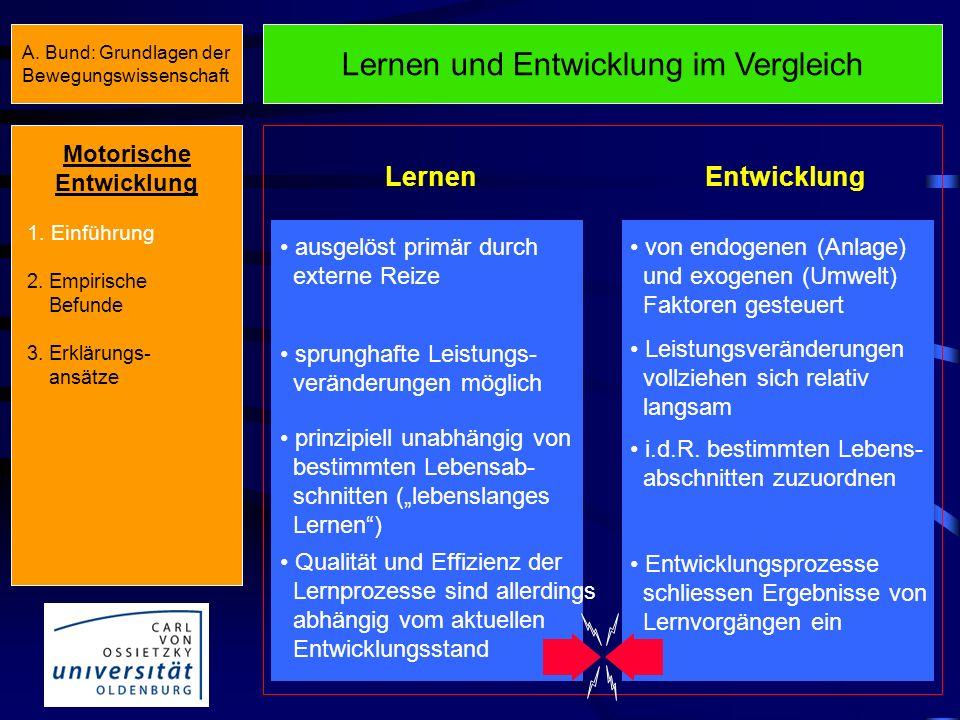 Fragen zur motorischen Entwicklung II Gibt es Unterschiede bzgl. der motorischen Entwick- lung von Jungen und Mädchen? Wenn ja, in welchem Alter setze