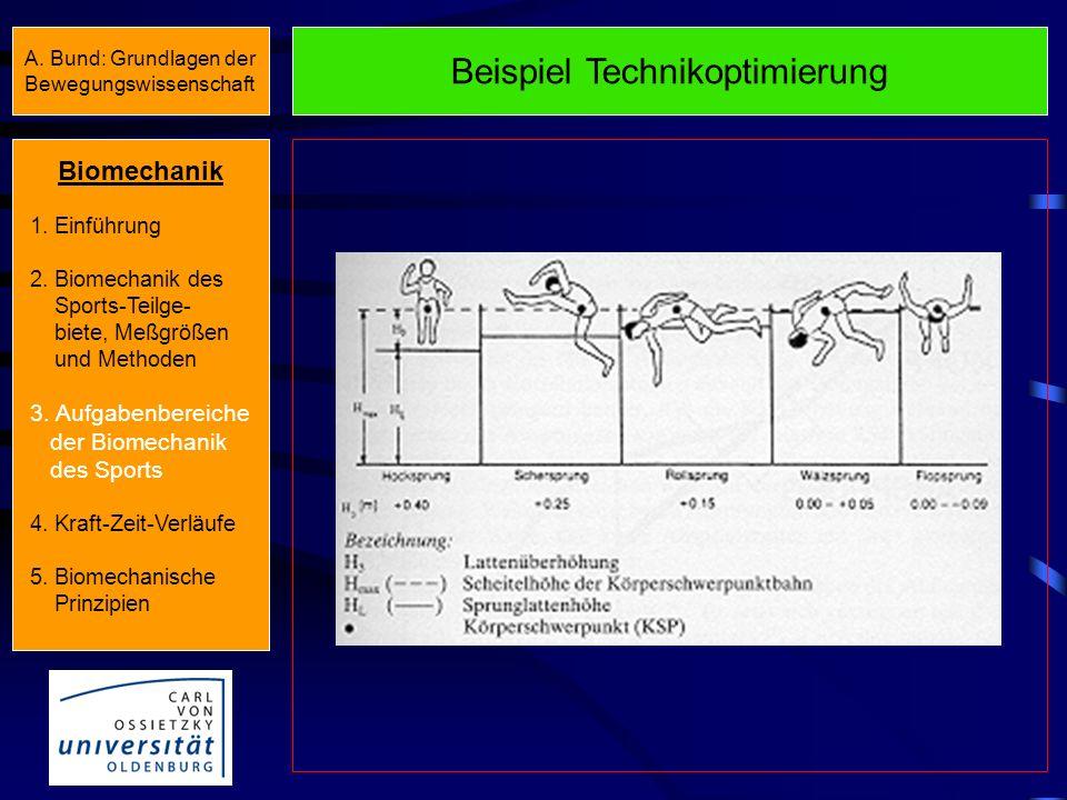 Beispiel Technikanalyse/-ansteuerung Biomechanik 1. Einführung 2. Biomechanik des Sports-Teilge- biete, Meßgrößen und Methoden 3. Aufgabenbereiche der