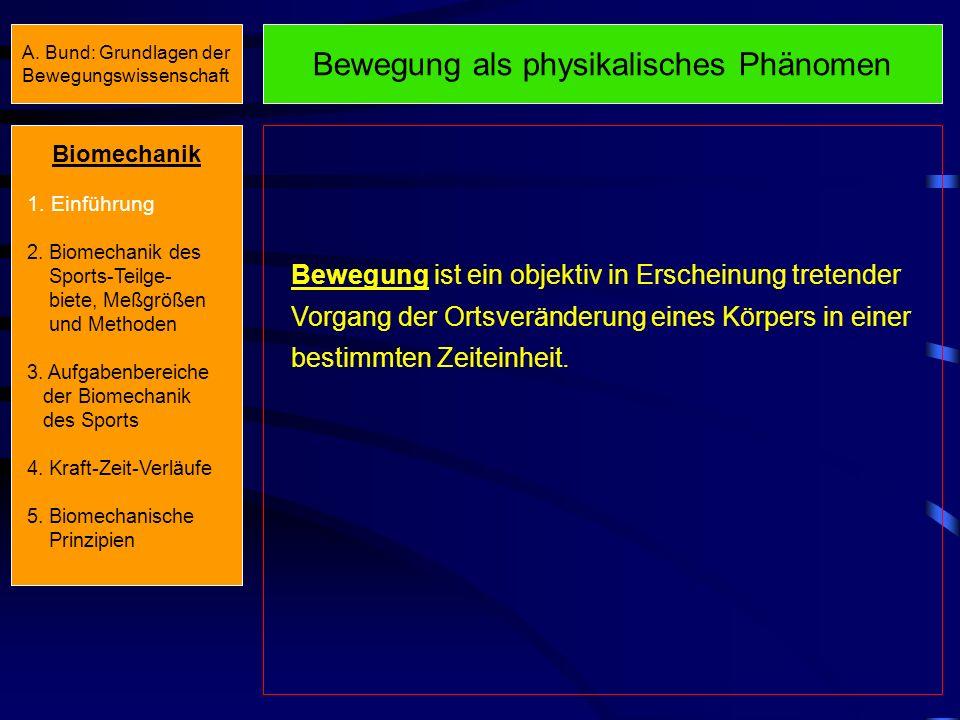 A. Bund: Grundlagen der Bewegungswissenschaft Biomechanik 1. Einführung 2. Biomechanik des Sports-Teilge- biete, Meßgrößen und Methoden 3. Aufgabenber