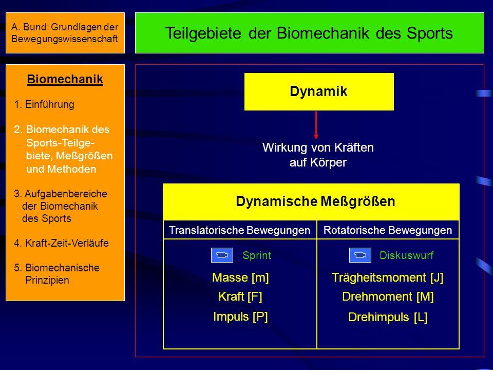 Teilgebiete der Biomechanik des Sports Dynamik Wirkung von Kräften auf Körper Dynamische Meßgrößen Translatorische Bewegungen Sprint Rotatorische Bewegungen Diskuswurf Masse [m] Kraft [F] Impuls [P] Trägheitsmoment [J] Drehmoment [M] Drehimpuls [L] Biomechanik 1.