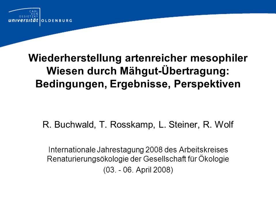Wiederherstellung artenreicher mesophiler Wiesen durch Mähgut-Übertragung: Bedingungen, Ergebnisse, Perspektiven R. Buchwald, T. Rosskamp, L. Steiner,
