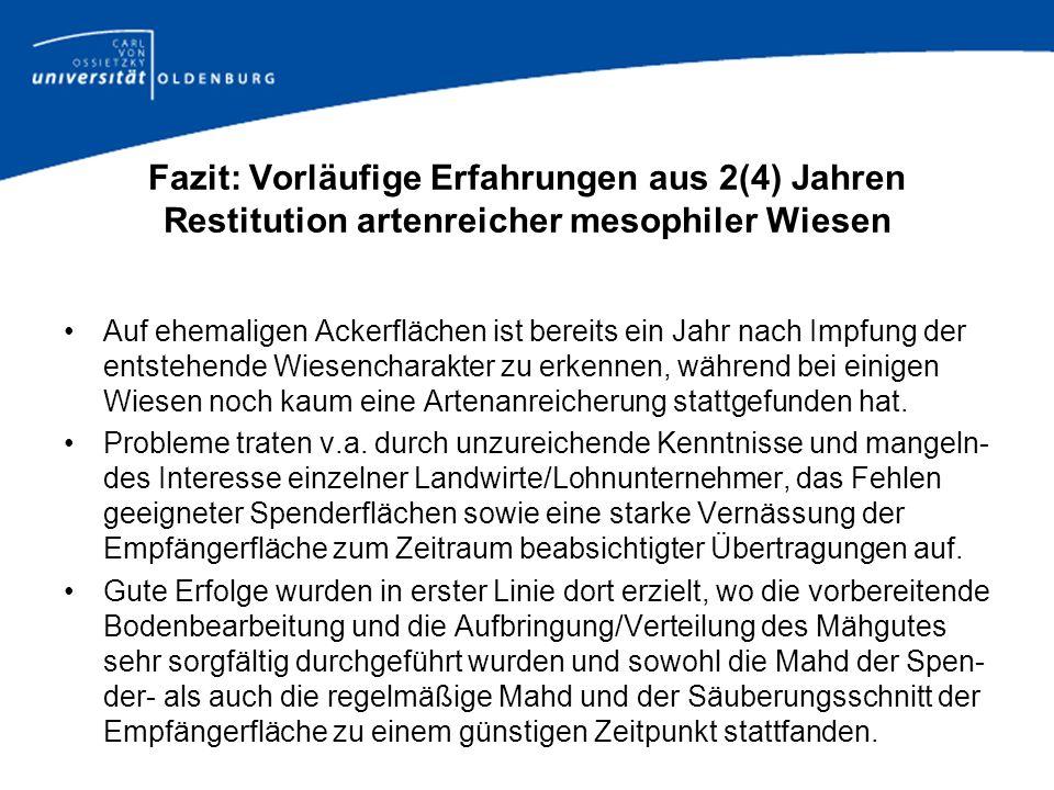Fazit: Vorläufige Erfahrungen aus 2(4) Jahren Restitution artenreicher mesophiler Wiesen Auf ehemaligen Ackerflächen ist bereits ein Jahr nach Impfung
