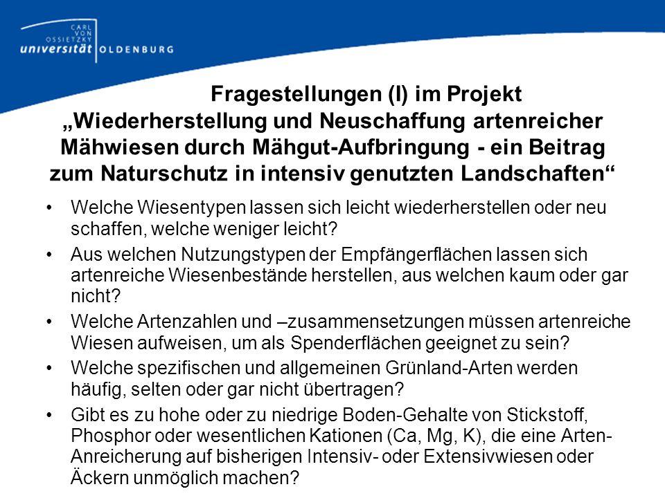 Fragestellungen (I) im Projekt Wiederherstellung und Neuschaffung artenreicher Mähwiesen durch Mähgut-Aufbringung - ein Beitrag zum Naturschutz in int