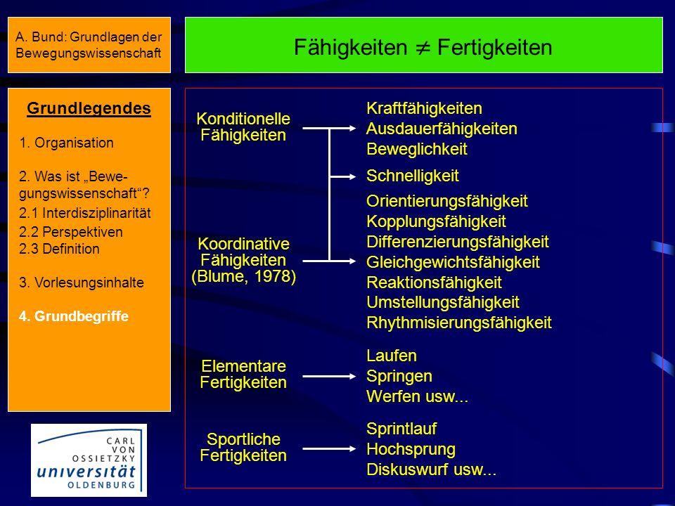 A. Bund: Grundlagen der Bewegungswissenschaft Fähigkeiten Fertigkeiten Motorische FähigkeitenBewegungsfertigkeiten Fähigkeiten sind genetisch an- gele