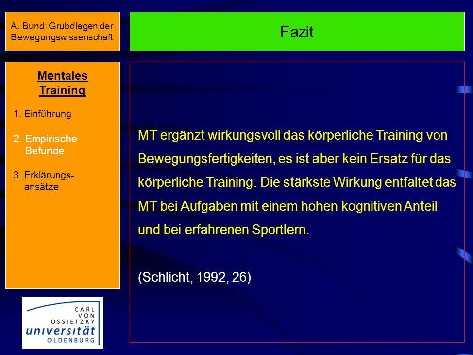 Meta-Analyse (Feltz & Landers, 1983) 0 0,2 0,4 0,6 0,8 1 AUFGABEN- ERFAHRUNG AUFGABENARTGESCHLECHT Könner Anfänger motorisch kognitiv Kraft männlich w