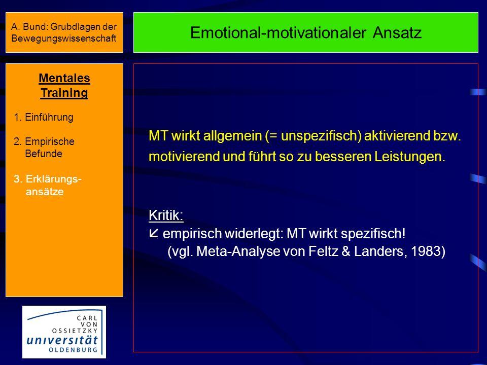 Übersicht Erklärungsansätze Unspezifische Wirkung Spezifische Wirkung Emotional-motivationaler Ansatz (Schmidt, 1972) Ideomotorische Hypothese Program