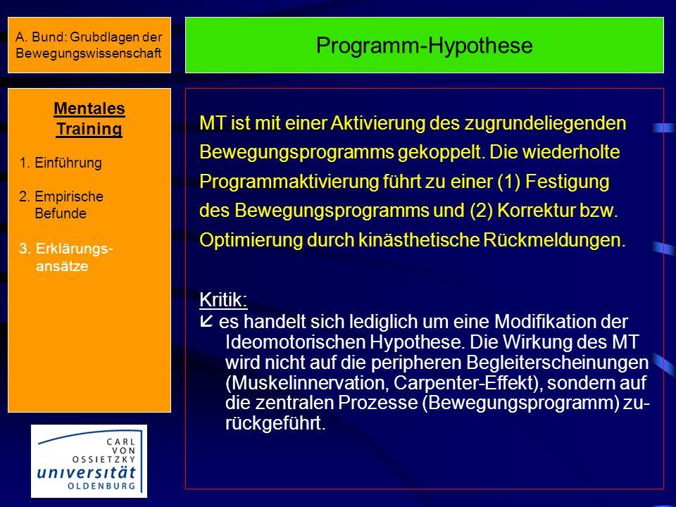 Ideomotorische Hypothese MT führt zu einer schwachen Innervation der Muskulatur (Carpenter-Effekt). Diese muskuläre Aktivität wird von der Muskulatur