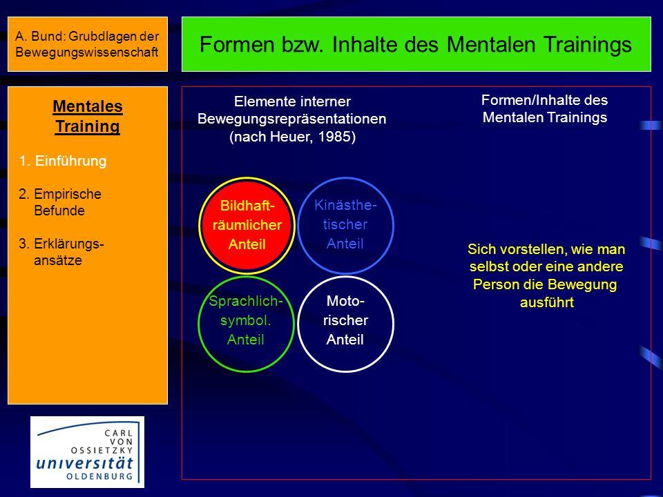 Annahme und Konsequenz Annahme : Bewegungen sind im ZNS nicht homogen repräsentiert. Es lassen sich mehrere Repräsentations- elemente unterscheiden (v