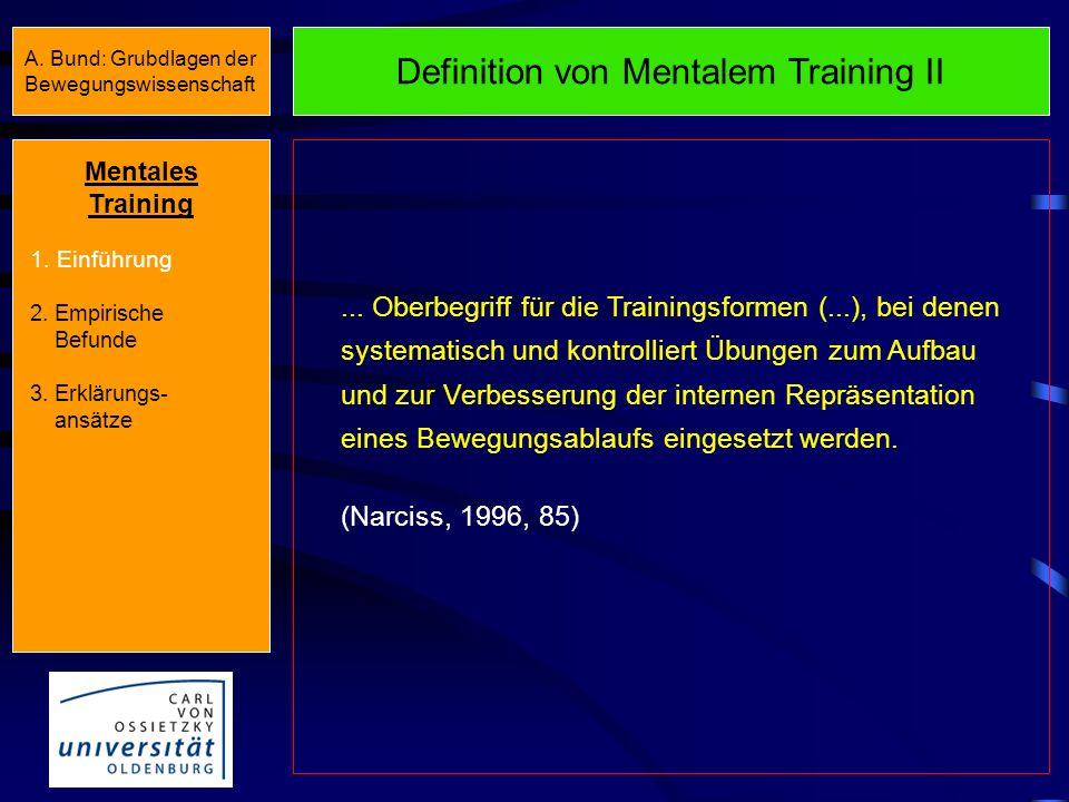 Formen bzw. Inhalte des Mentalen Trainings Elemente interner Bewegungsrepräsentationen (nach Heuer, 1985) Formen/Inhalte des Mentalen Trainings Bildha
