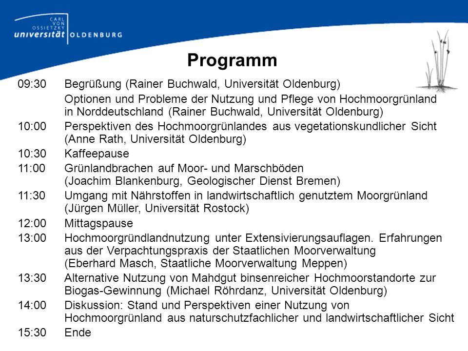 Optionen und Probleme der Nutzung und Pflege von Hochmoorgrünland in Norddeutschland Rainer Buchwald Carl von Ossietzky Universität Oldenburg Tagung Nachhaltige Nutzung von Hochmoorgrünland - Chance oder Illusion.