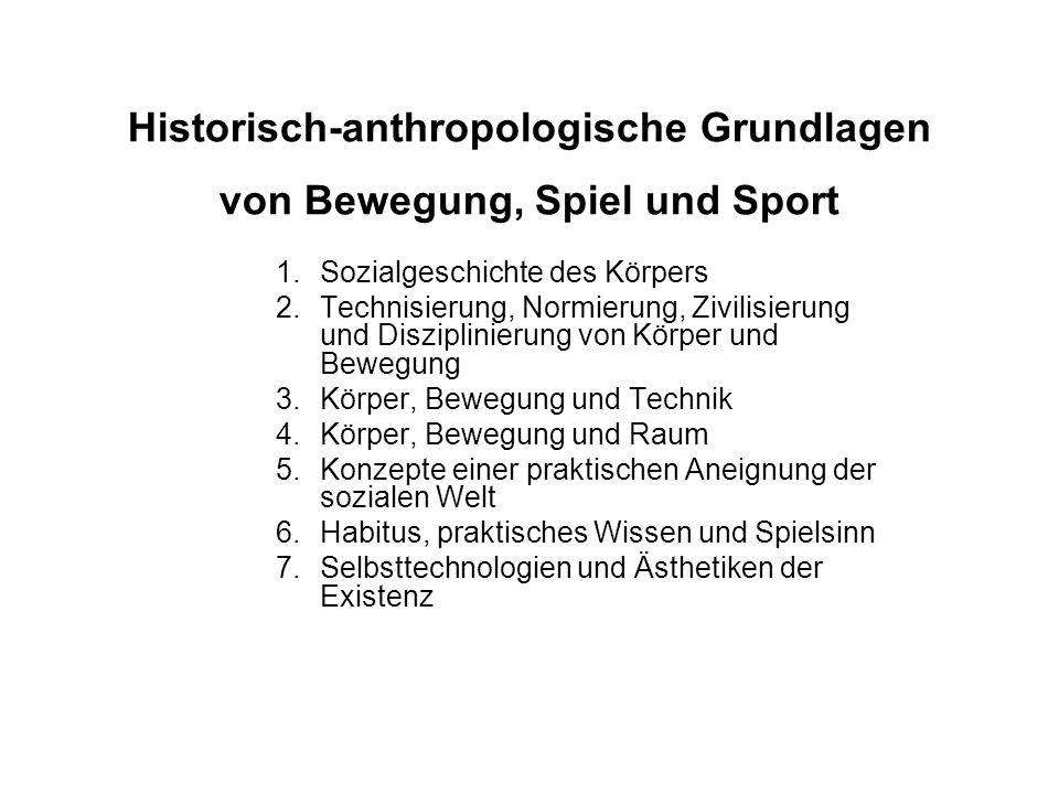 Historisch-anthropologische Grundlagen von Bewegung, Spiel und Sport 1.Sozialgeschichte des Körpers 2.Technisierung, Normierung, Zivilisierung und Dis