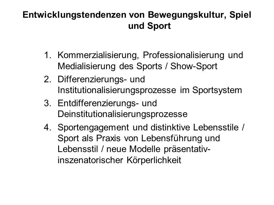 Entwicklungstendenzen von Bewegungskultur, Spiel und Sport 1.Kommerzialisierung, Professionalisierung und Medialisierung des Sports / Show-Sport 2.Dif