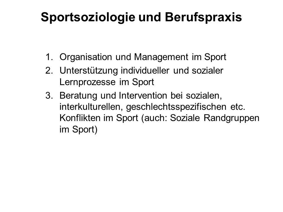 Sportsoziologie und Berufspraxis 1.Organisation und Management im Sport 2.Unterstützung individueller und sozialer Lernprozesse im Sport 3.Beratung un