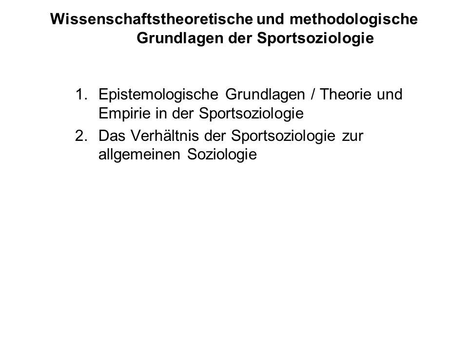 Wissenschaftstheoretische und methodologische Grundlagen der Sportsoziologie 1.Epistemologische Grundlagen / Theorie und Empirie in der Sportsoziologi