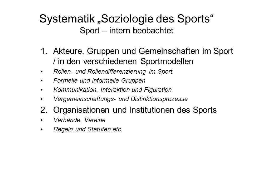 Systematik Soziologie des Sports Sport – intern beobachtet 1.Akteure, Gruppen und Gemeinschaften im Sport / in den verschiedenen Sportmodellen Rollen-